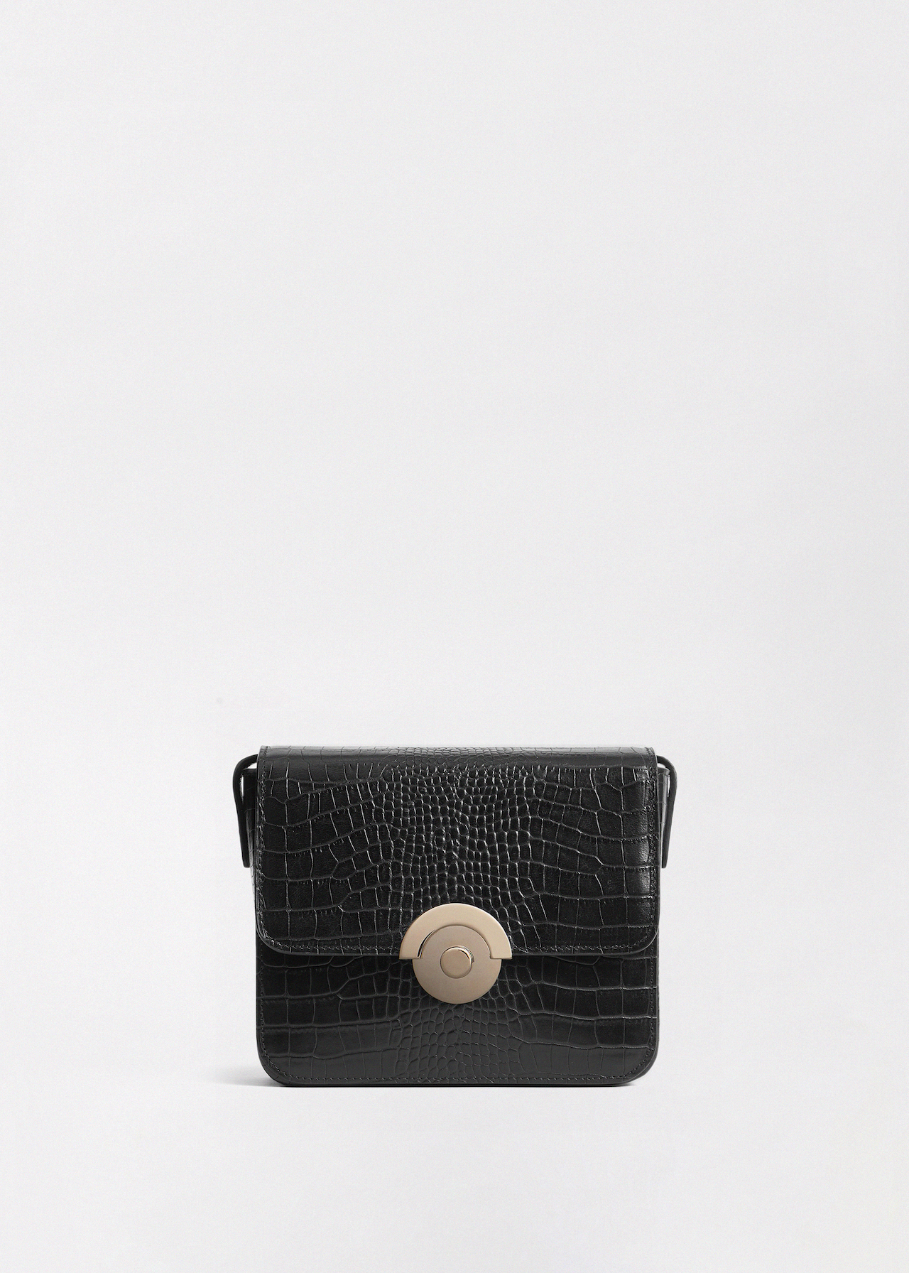 Small Box Bag in Embossed Leather - Black - CO