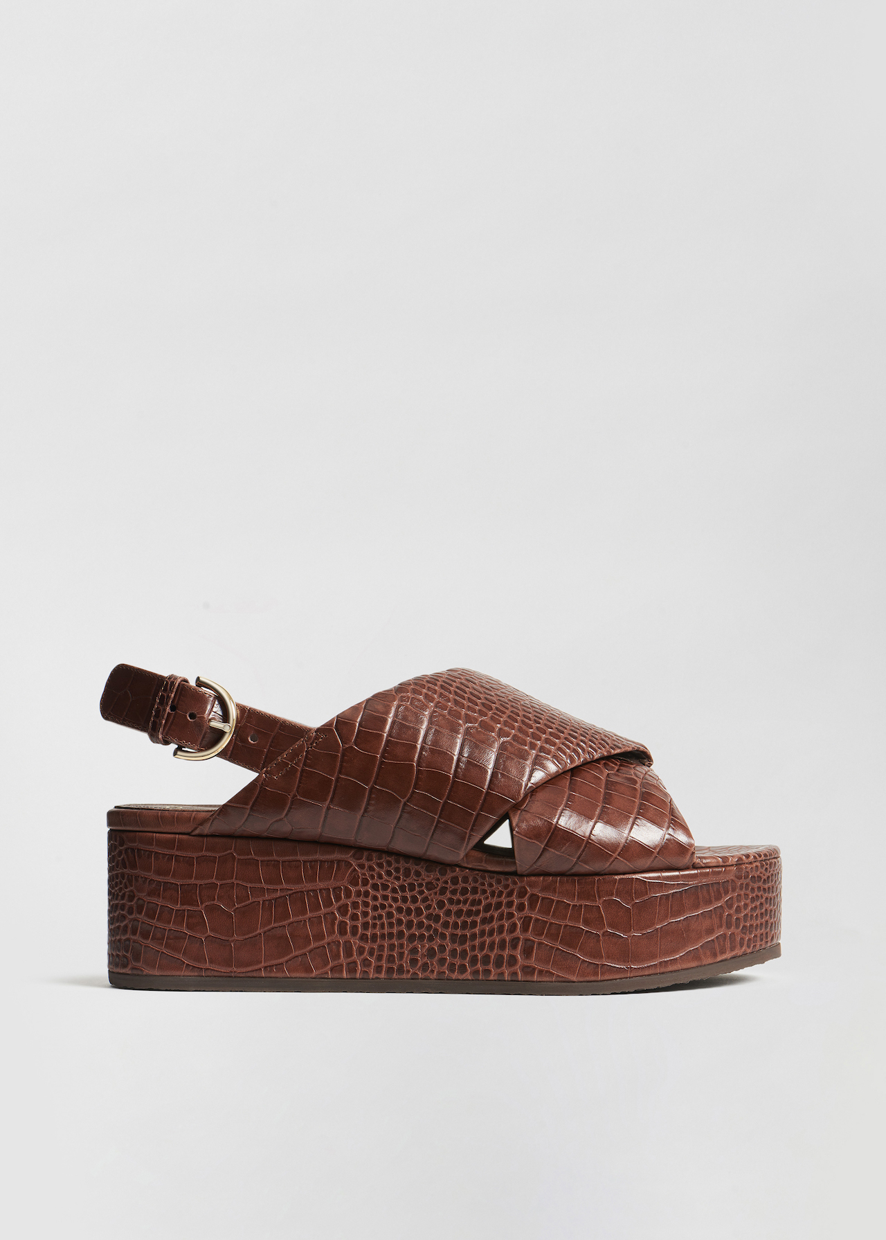 Platform Sandal in Embossed Leather - Black in Dark Brown Croc by Co Collections