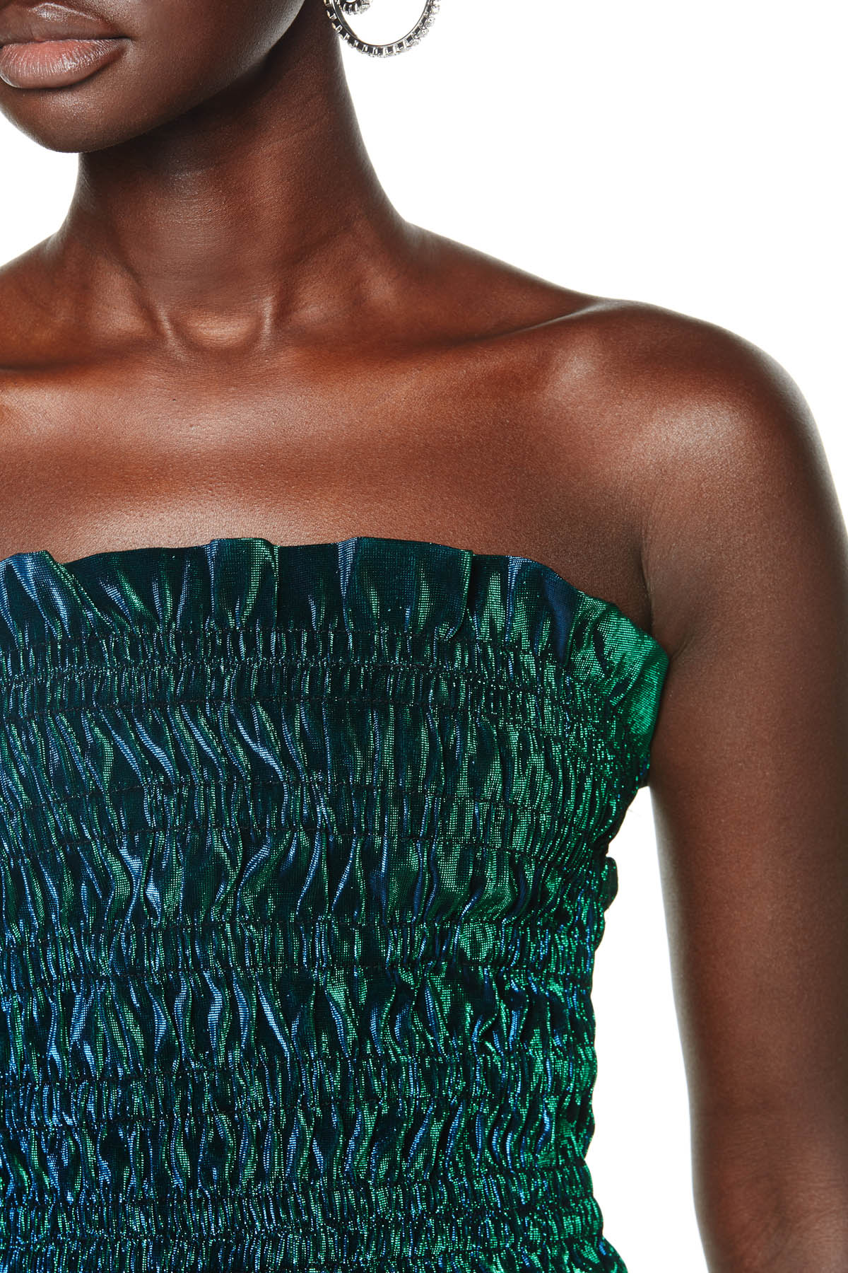 Tube top with ruched detailing. Available in Peacock Green.