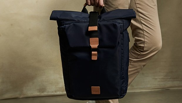 "KNOMO Novello Roll-Top Laptop Backpack - 15"" Lifestyle Image   knomo.com"
