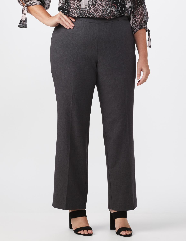 Secret Agent Tummy Control Pull On Pants - Average Length -grey - Front