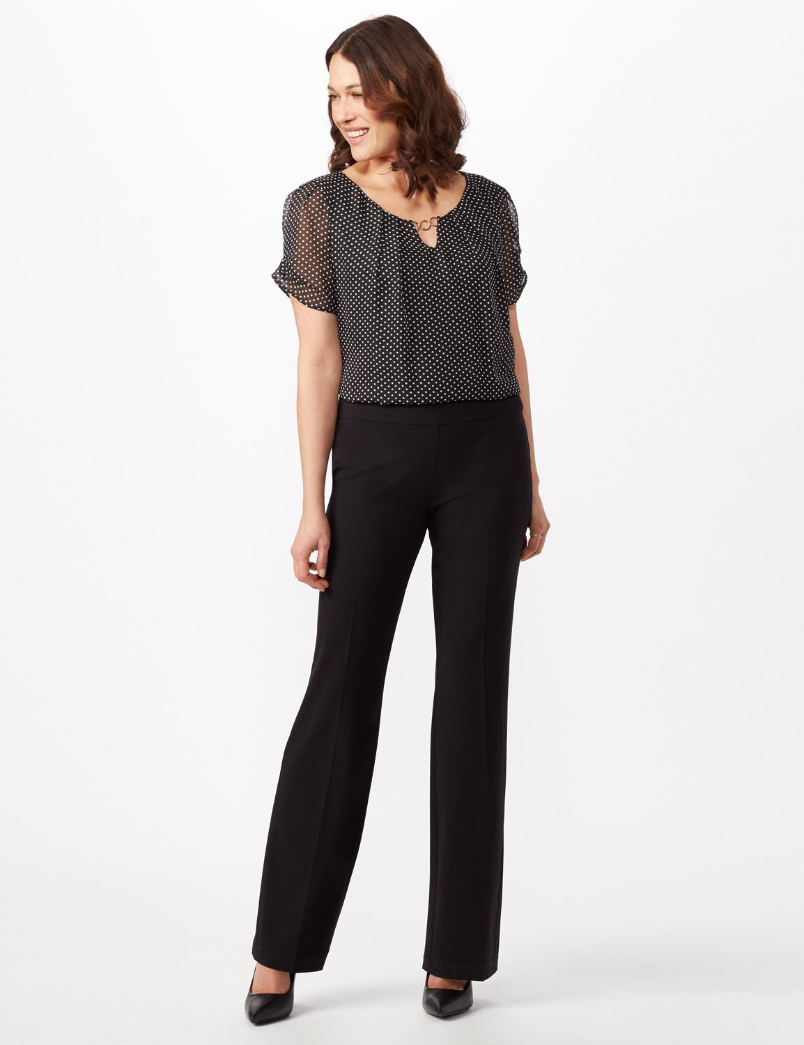 Secret Agent Pull On Tummy Control Pants - Short Length -Black - Front