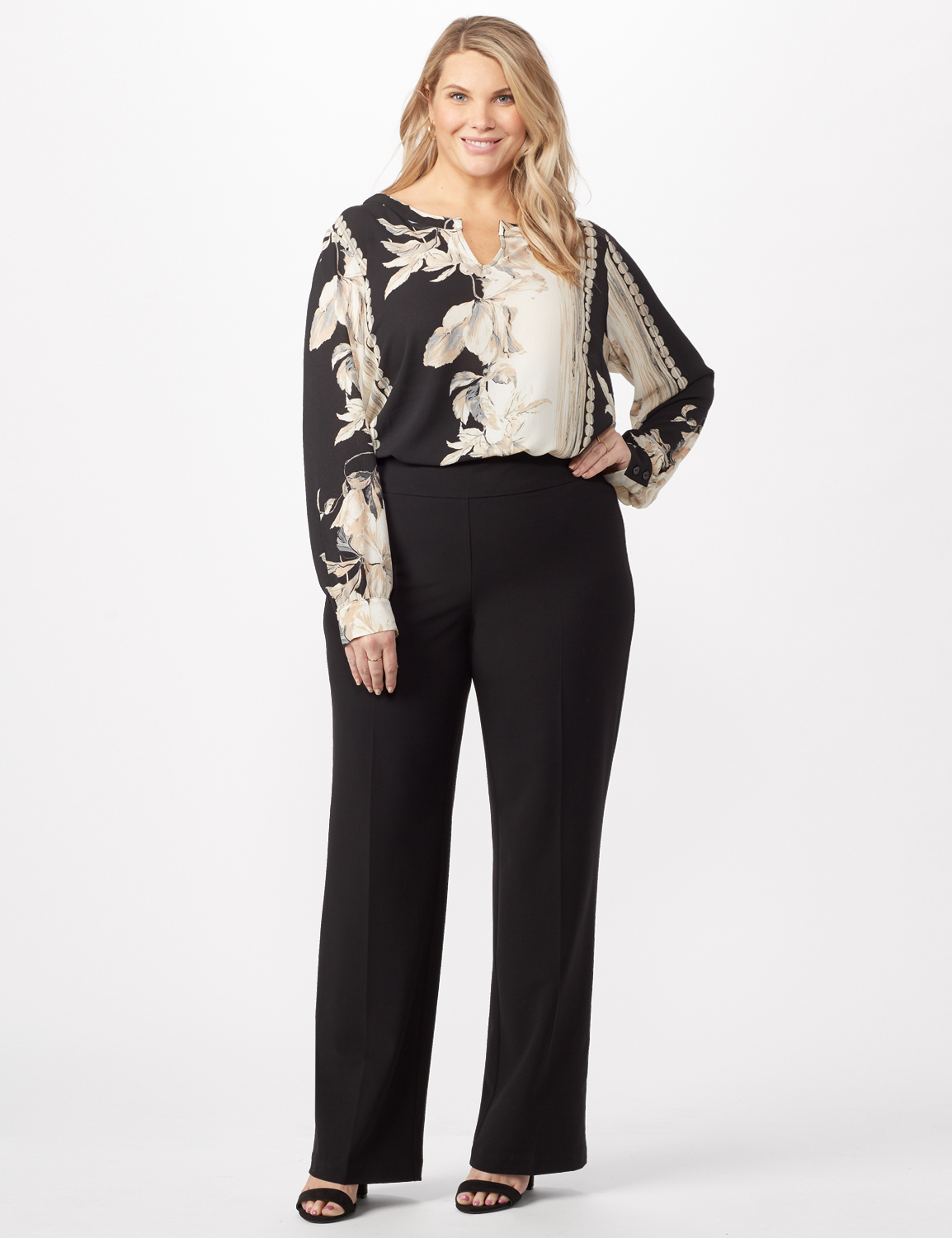 Secret Agent Pull On Tummy Control Pants - Tall Length - Plus -Black - Front