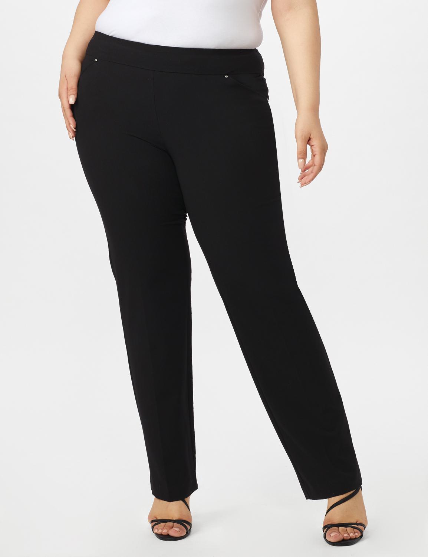 Secret Agent Tummy Control Pants Cateye Rivets - Average Length -Black - Front