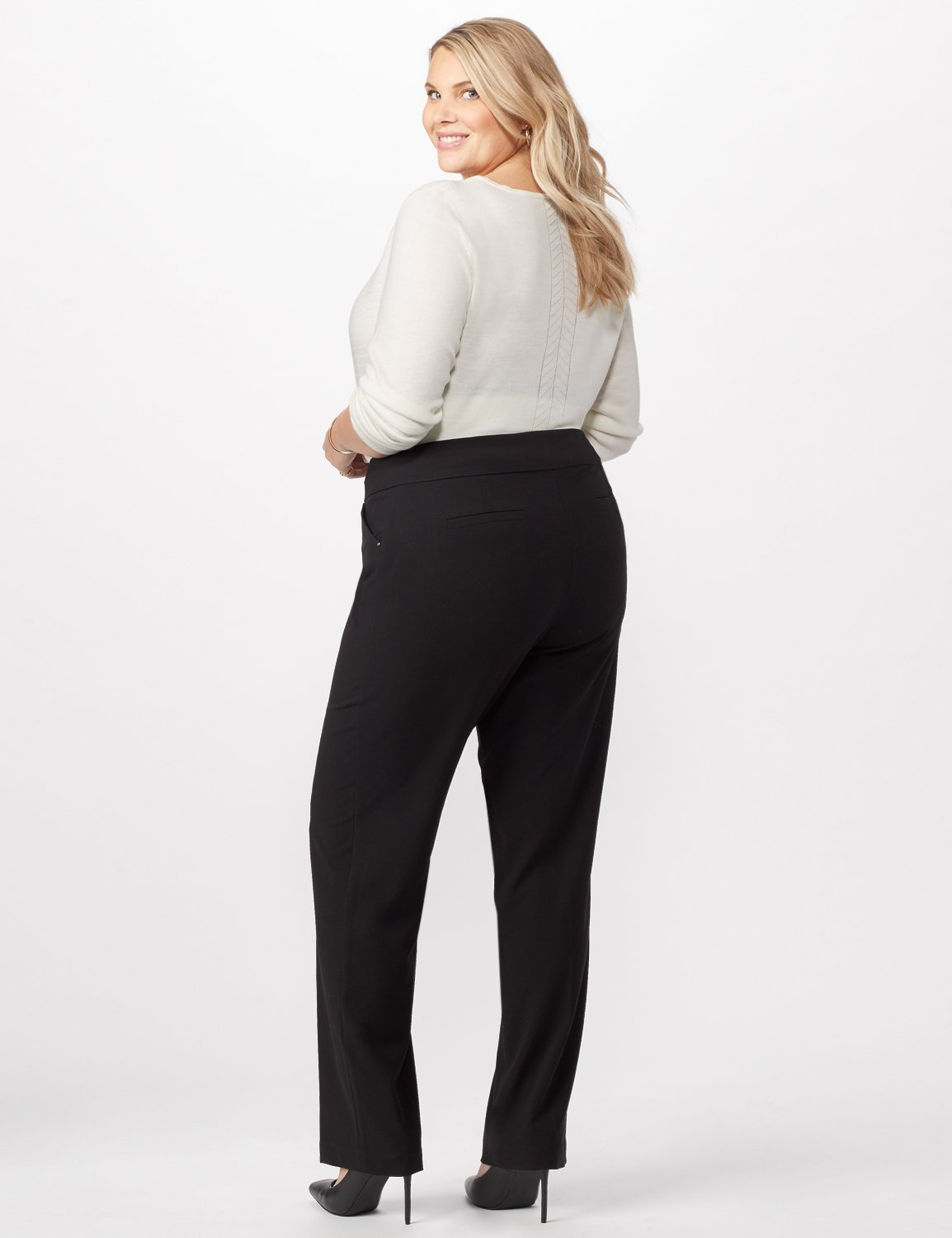 *PRE-SALE* Secret Agent Tummy Control Pants Cateye Rivet - Tall Length -Black - Back