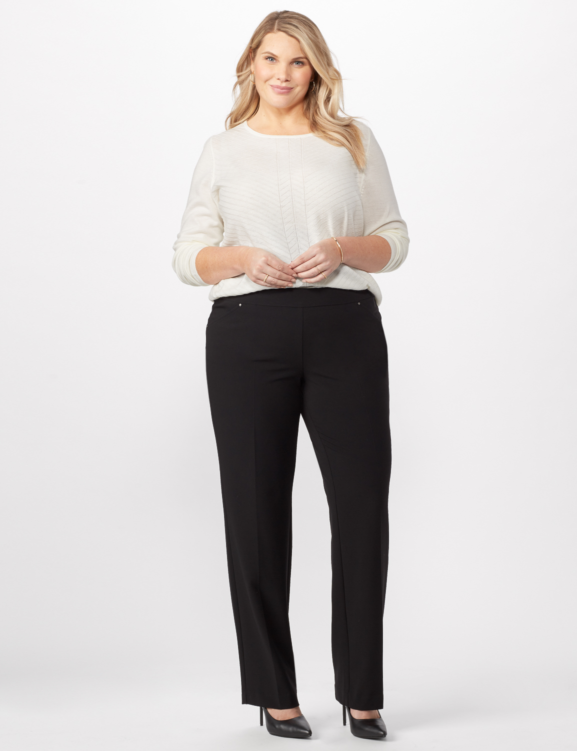Secret Agent Tummy Control Pants Cateye Rivet - Tall Length -Black - Front