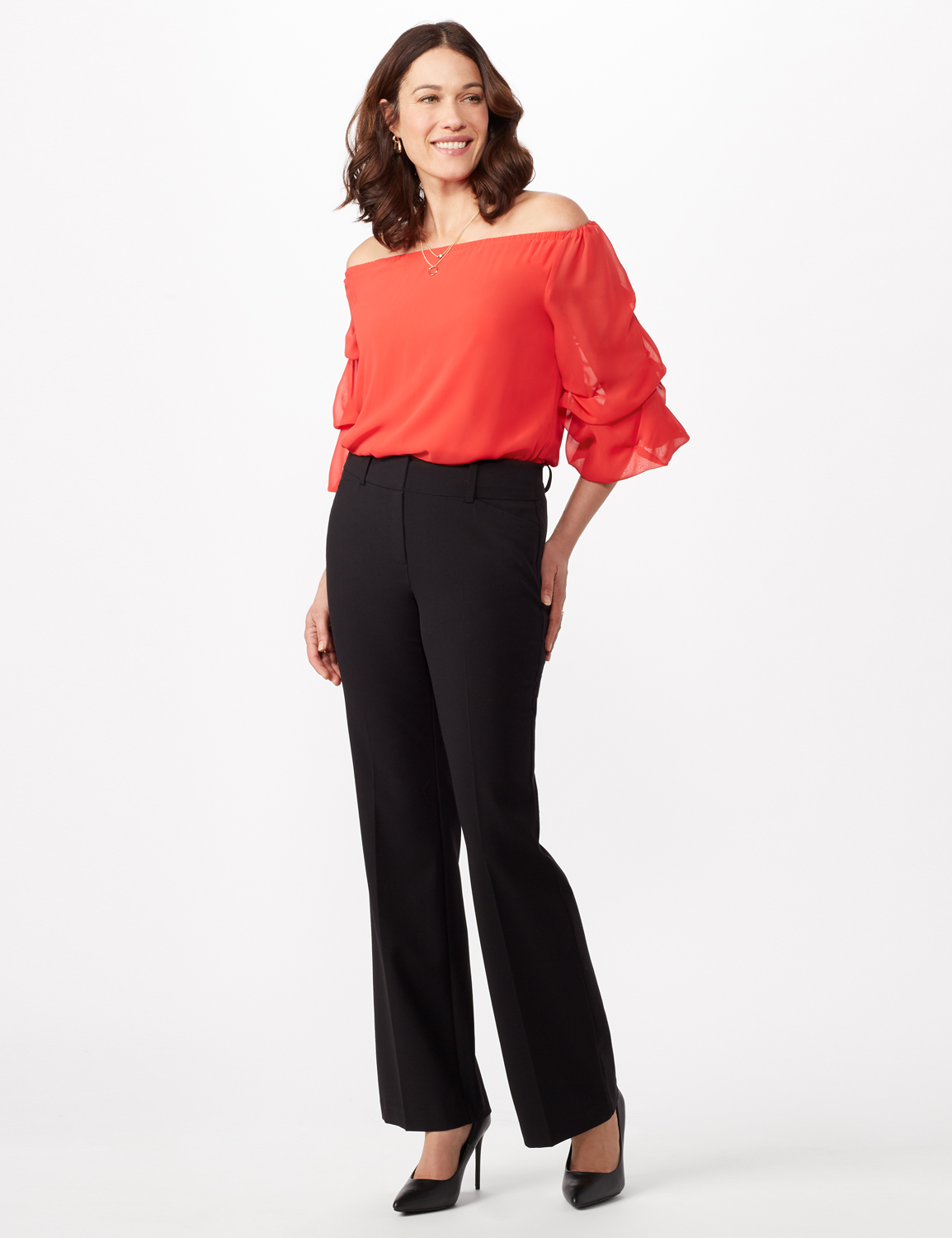 Secret Agent Trouser with Cateye Pockets and Zipper -Black - Front