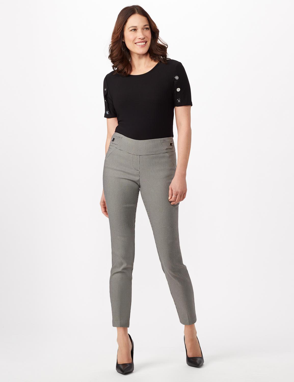 Black - Olive Plaid Pull On Pants -Black/olive - Front