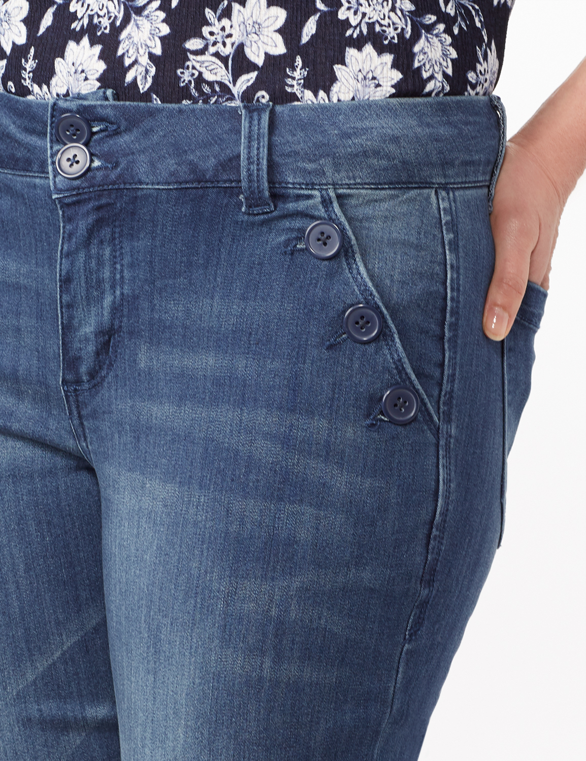 Denim Trousers with Button Pocket Detail - Medium Stone Wash - Detail