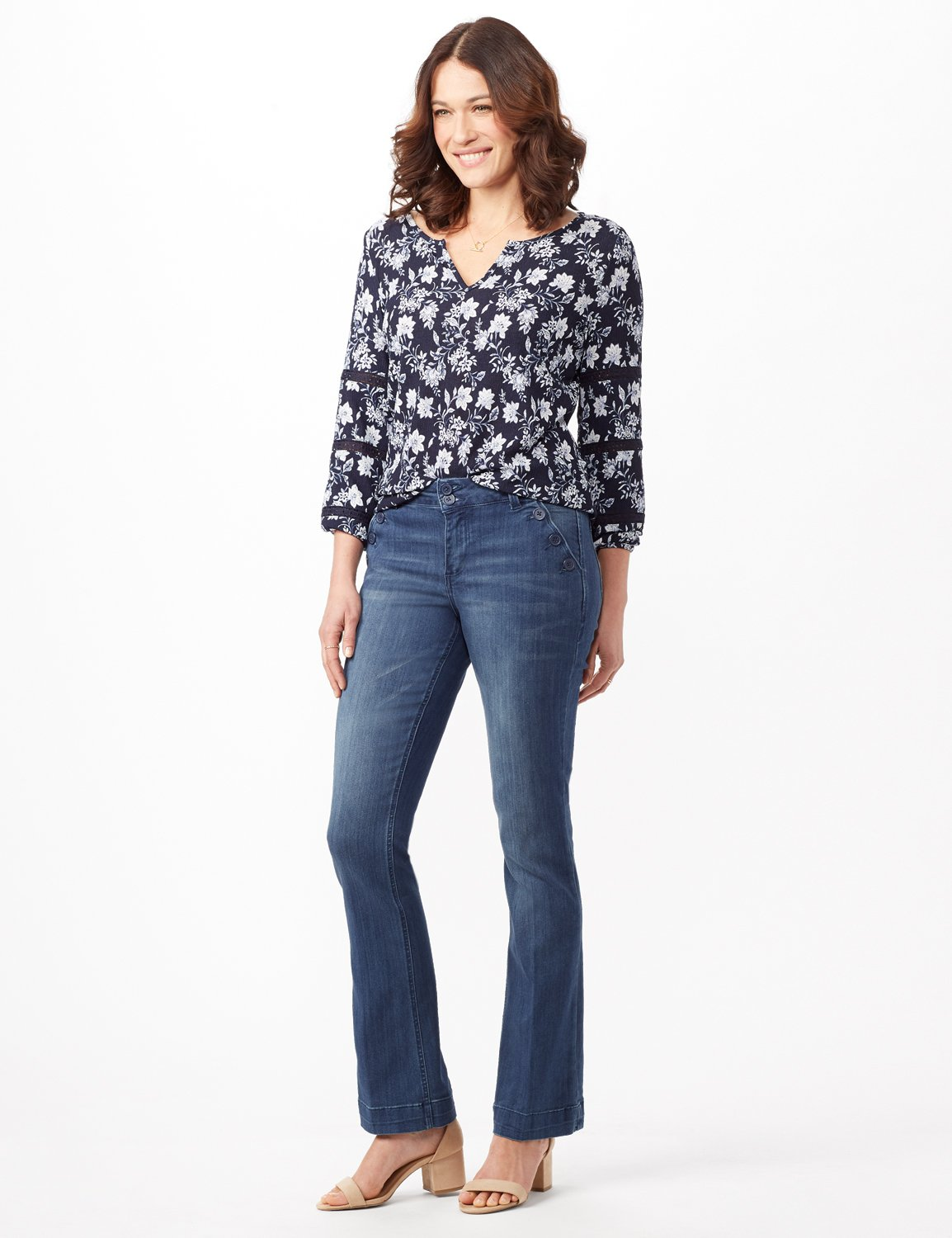 Denim Trousers with Button Pocket Detail -Medium Stone Wash - Front