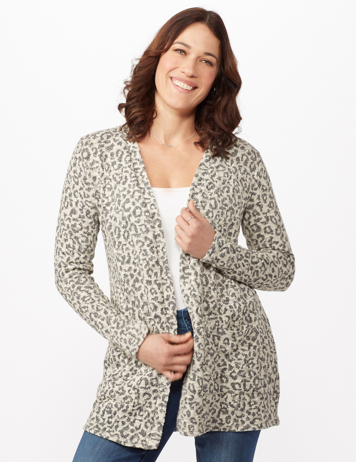 Animal Jacquard Duster -White/silver - Front