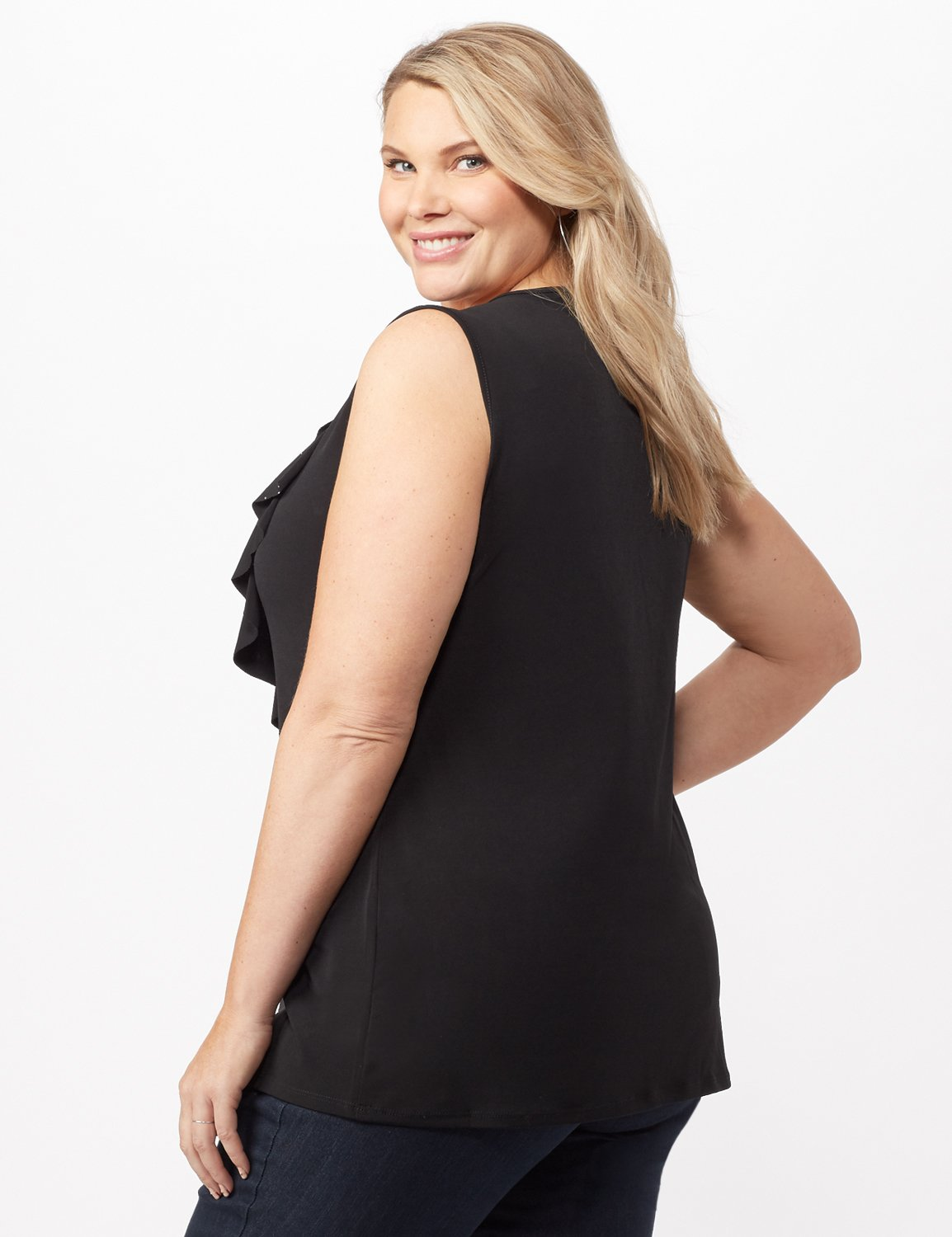 Rhinestone Ruffle Layer Shell Top -Black - Back