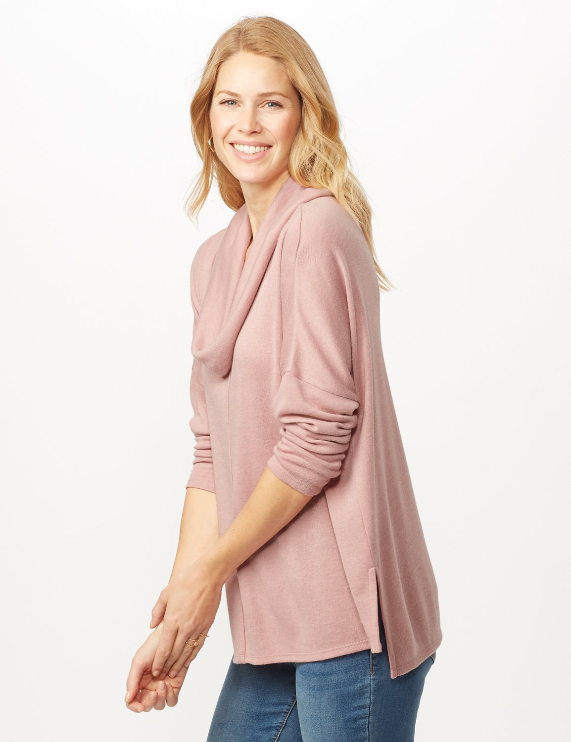 Cowl Neck Hi-Low Knit Top - Dusty Rose - Detail