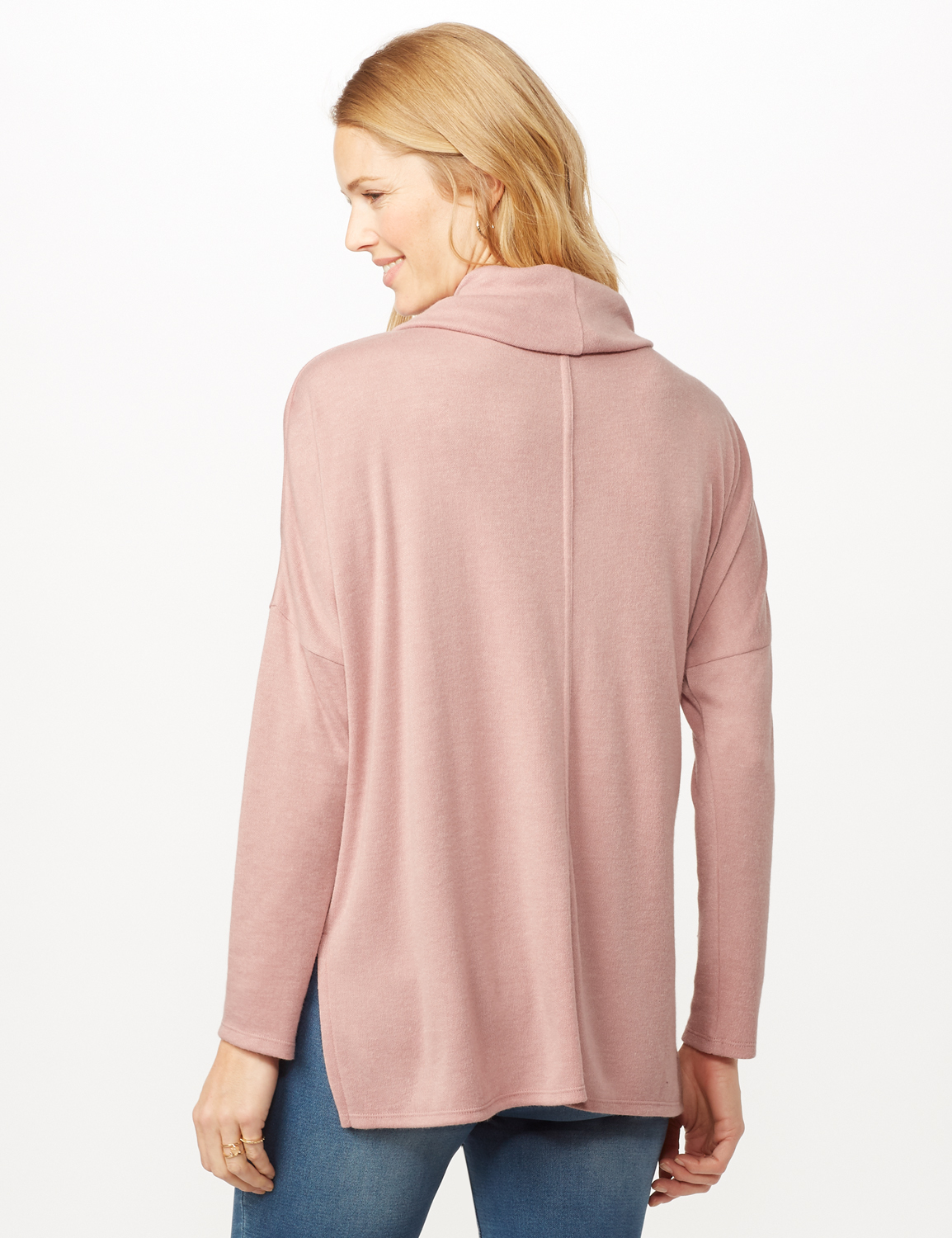 Cowl Neck Hi-Low Knit Top -Dusty Rose - Back