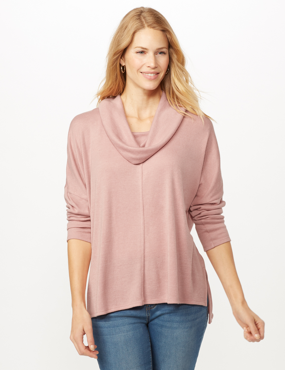 Cowl Neck Hi-Low Knit Top -Dusty Rose - Front