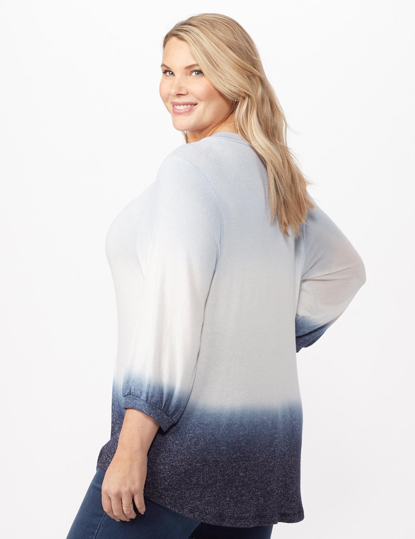 V-Neck  Hacci Dip Dye Knit Top Plus -Blue - Back