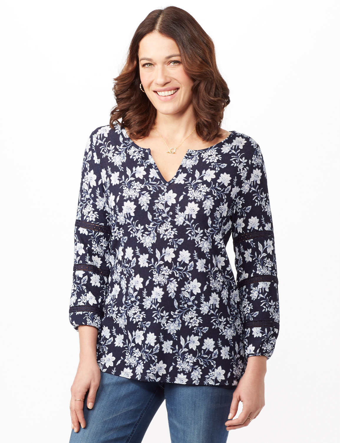 Long Sleeve Floral Knit Top with Lace Inset -Blue - Front