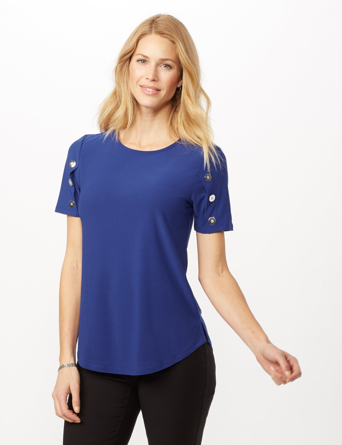 Three Button Crepe Tee Knit Top -Royal - Front