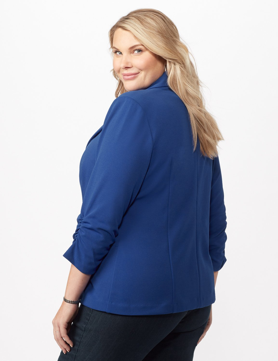 Cinched Sleeve One pocket Notch Collar Topper Plus -Royal - Back