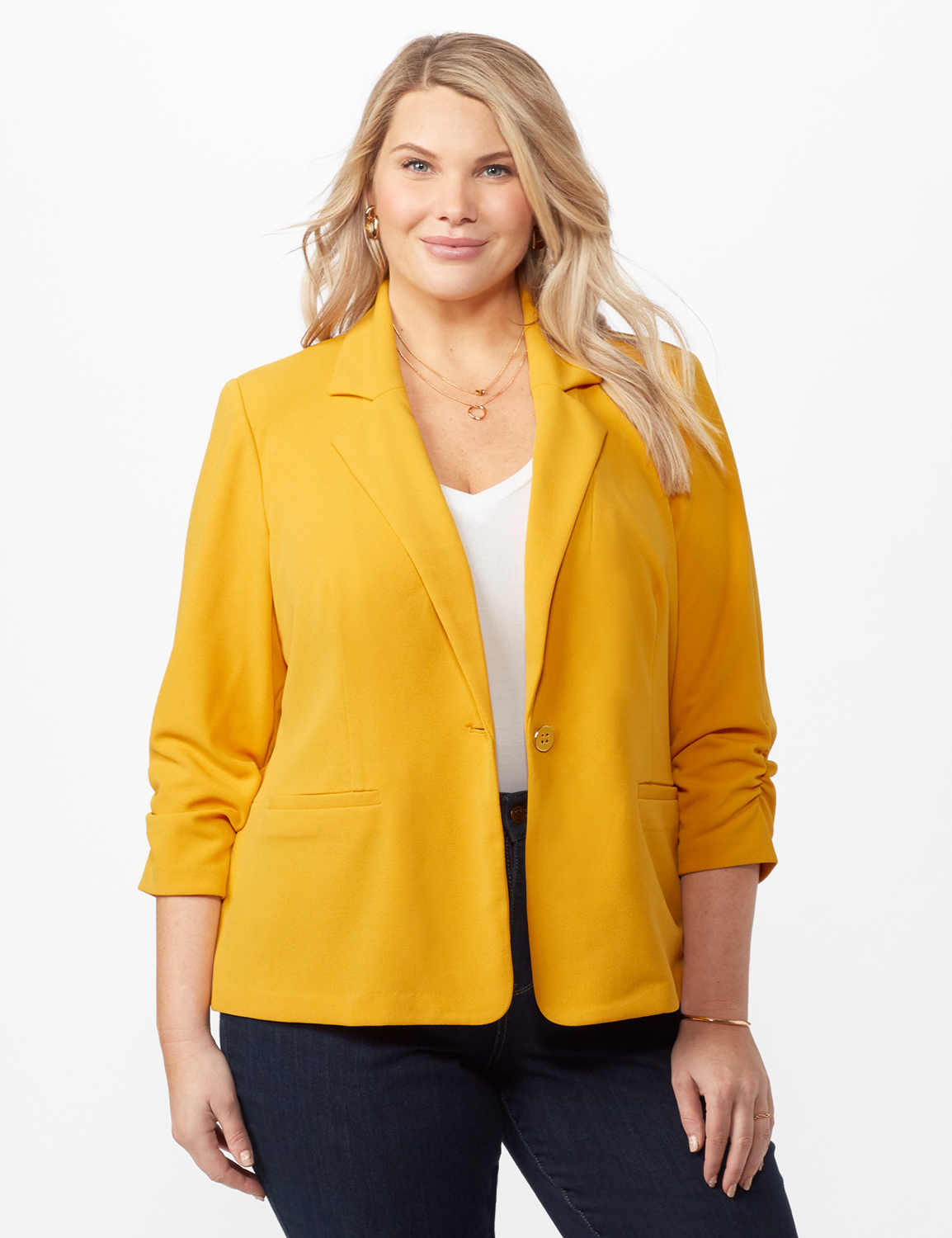 Cinched Sleeve One pocket Notch Collar Topper Plus -Gold - Front