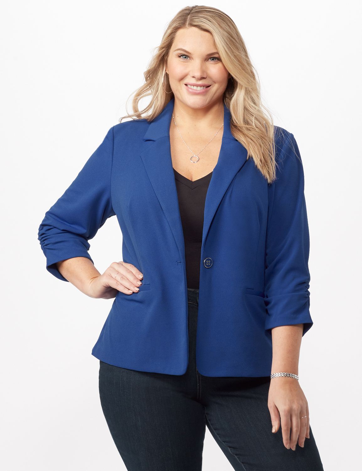 Cinched Sleeve One pocket Notch Collar Topper Plus -Royal - Front