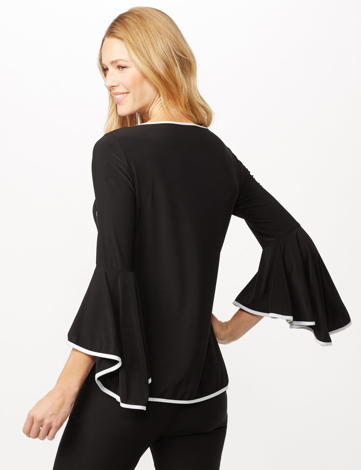 Piped Bell Sleeve Knit Top -Black/white - Back