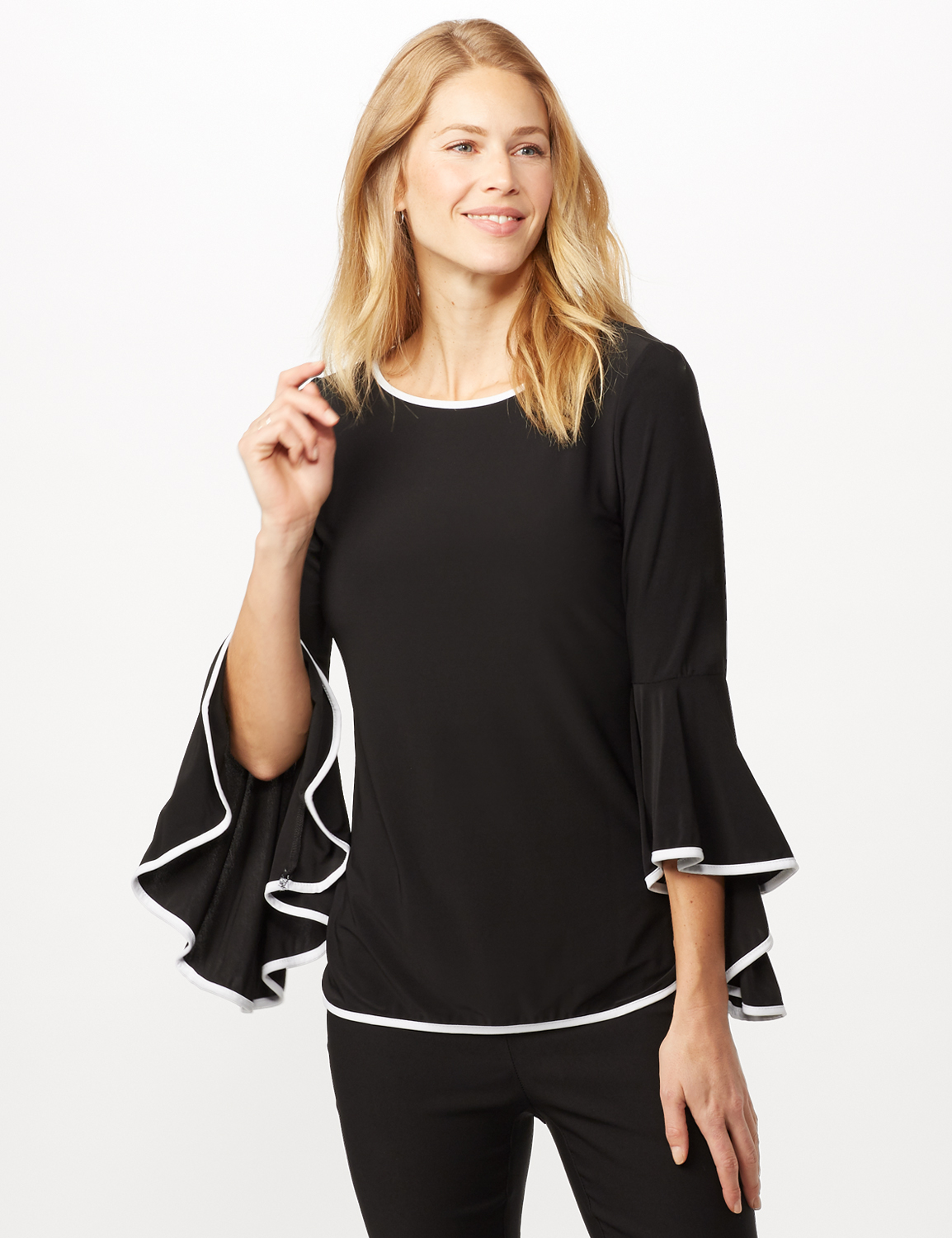 Piped Bell Sleeve Knit Top -Black/white - Front