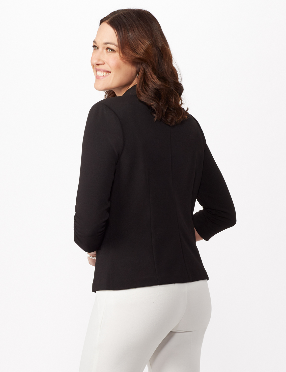 Cinched Sleeve One Button Faux Pocket Notch Collar Topper -Black - Back