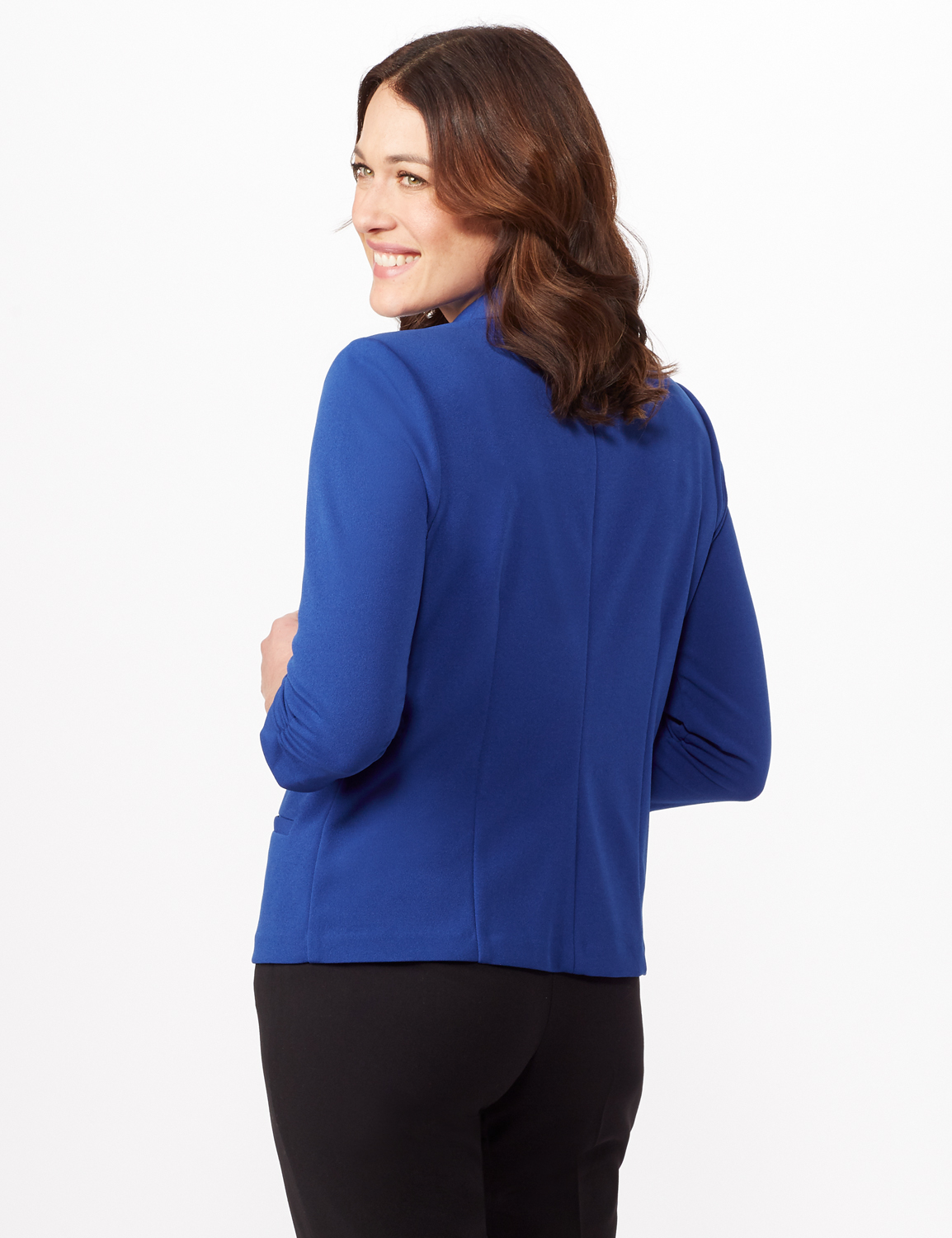 Cinched Sleeve One Button Faux Pocket Notch Collar Topper -Royal - Back