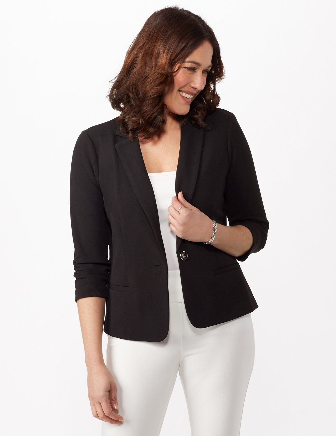 Cinched Sleeve One Button Faux Pocket Notch Collar Topper -Black - Front