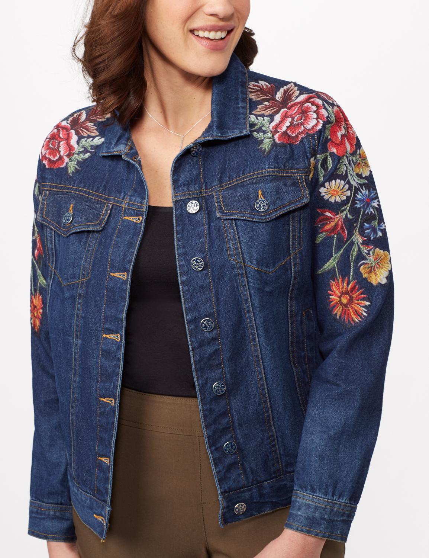 Long Sleeve Embroidered Denim Jacket - Denim - Detail