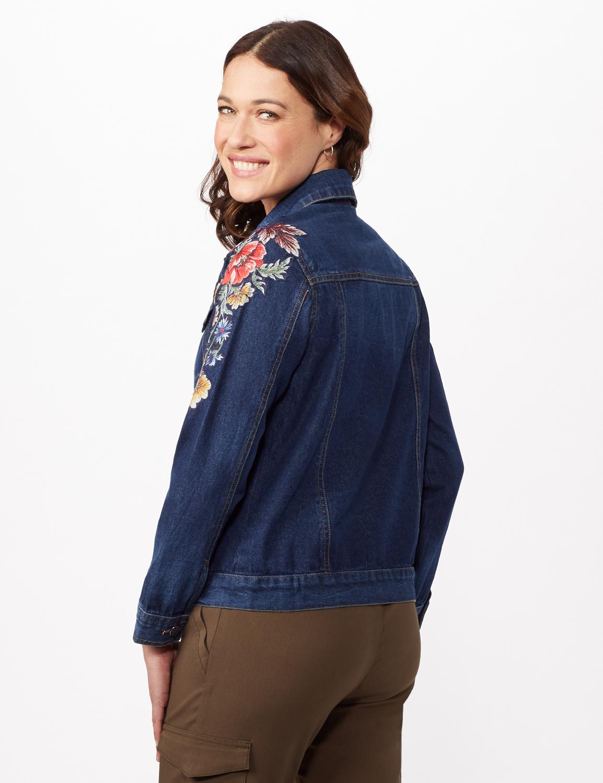 Long Sleeve Embroidered Denim Jacket -Denim - Back