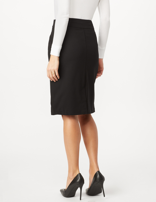 Faux Buckle Pencil Skirt -Black - Back