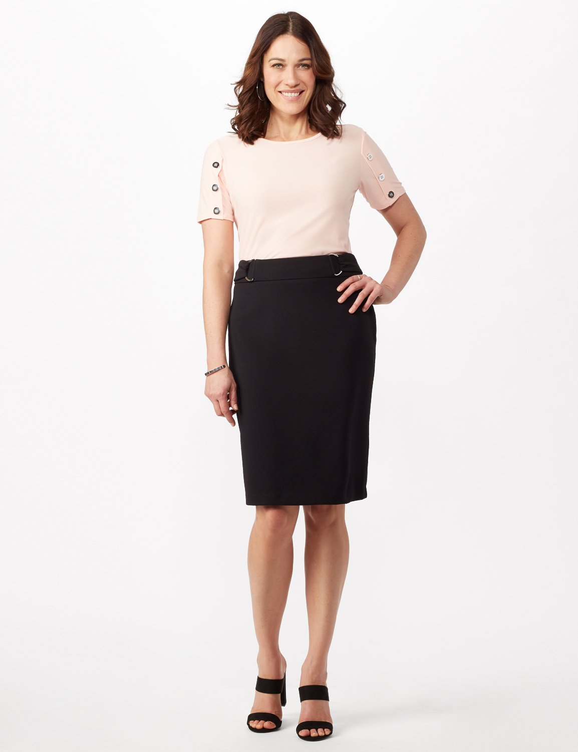 Faux Buckle Pencil Skirt -Black - Front