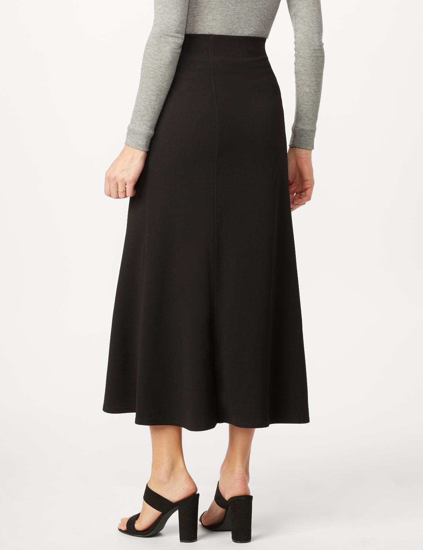 Long Flippy Skirt -Black - Back