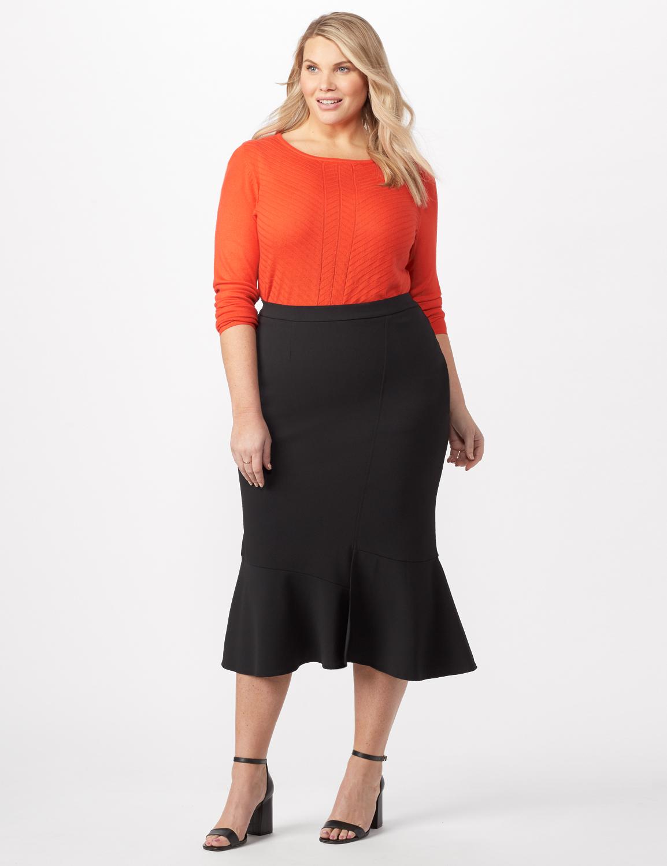 Flounce Skirt Plus -Black - Front