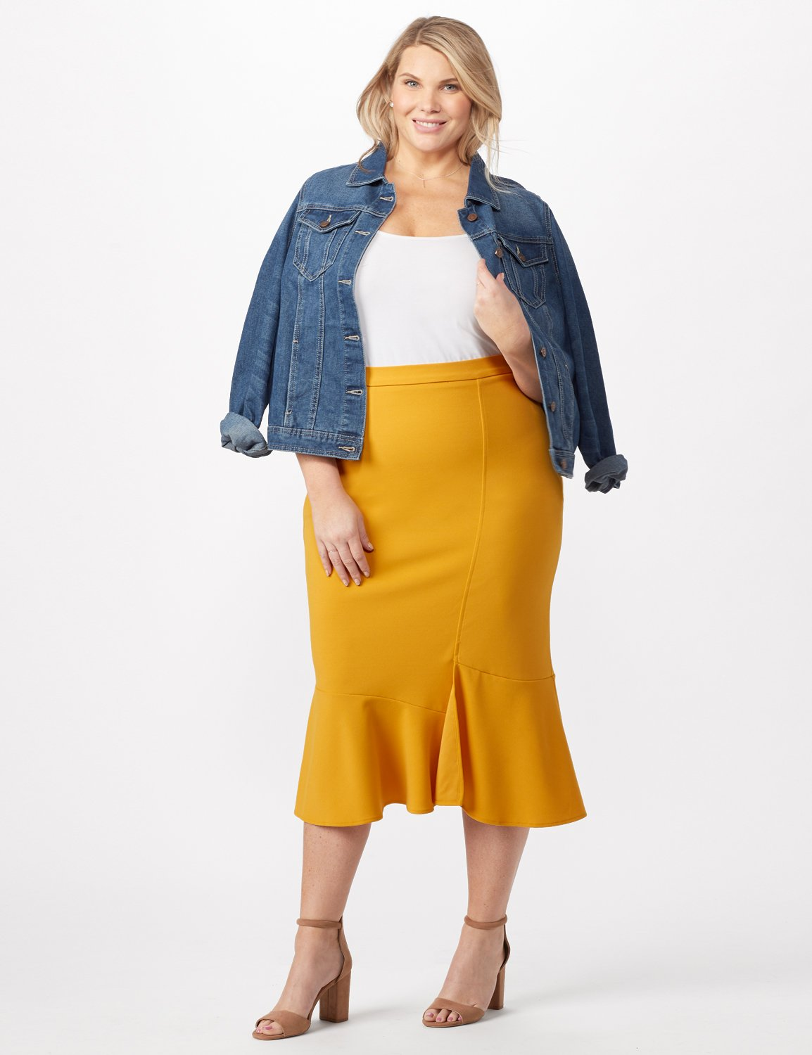 Flounce Skirt Plus -Gold - Front