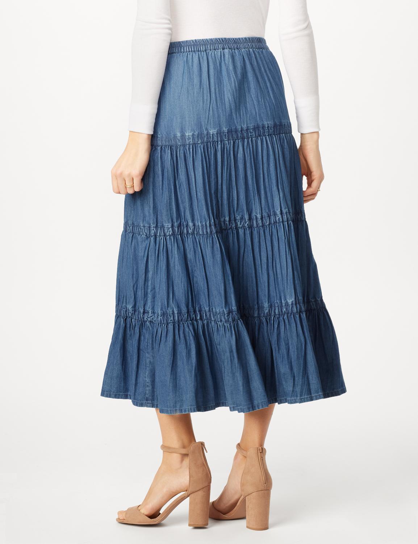 Long Denim Tier Skirt -Denim - Back