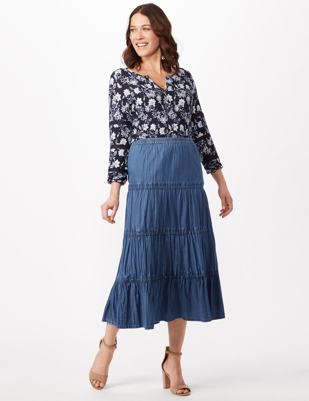 Long Denim Tier Skirt -Denim - Front
