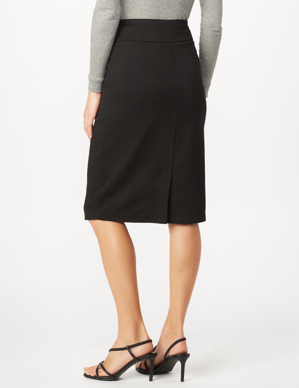 Pull On Ponte Skirt -Black - Back