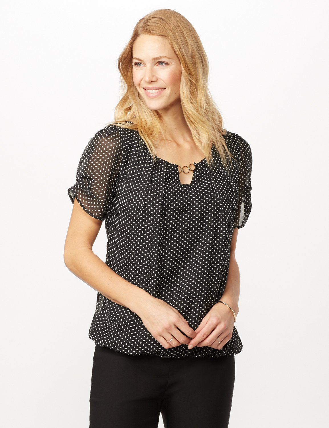 Short Sleeve Dotted Woven Top with Three Ring Chain -Black/white - Front