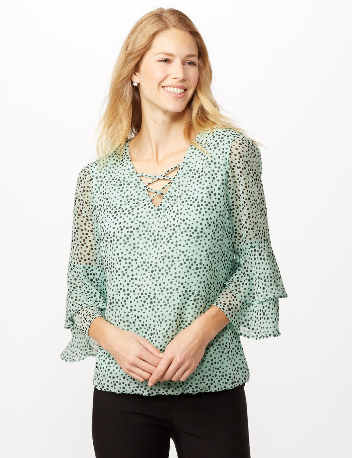 Dotted Bubble Hem Woven Top with Triple Sleeve and Crisscross Neckline Detail -Sage/black - Front