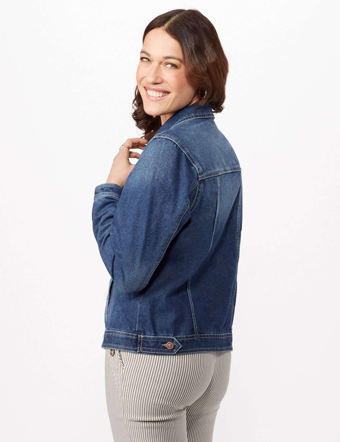 Long Sleeve Denim Jacket -Blue Wash - Back