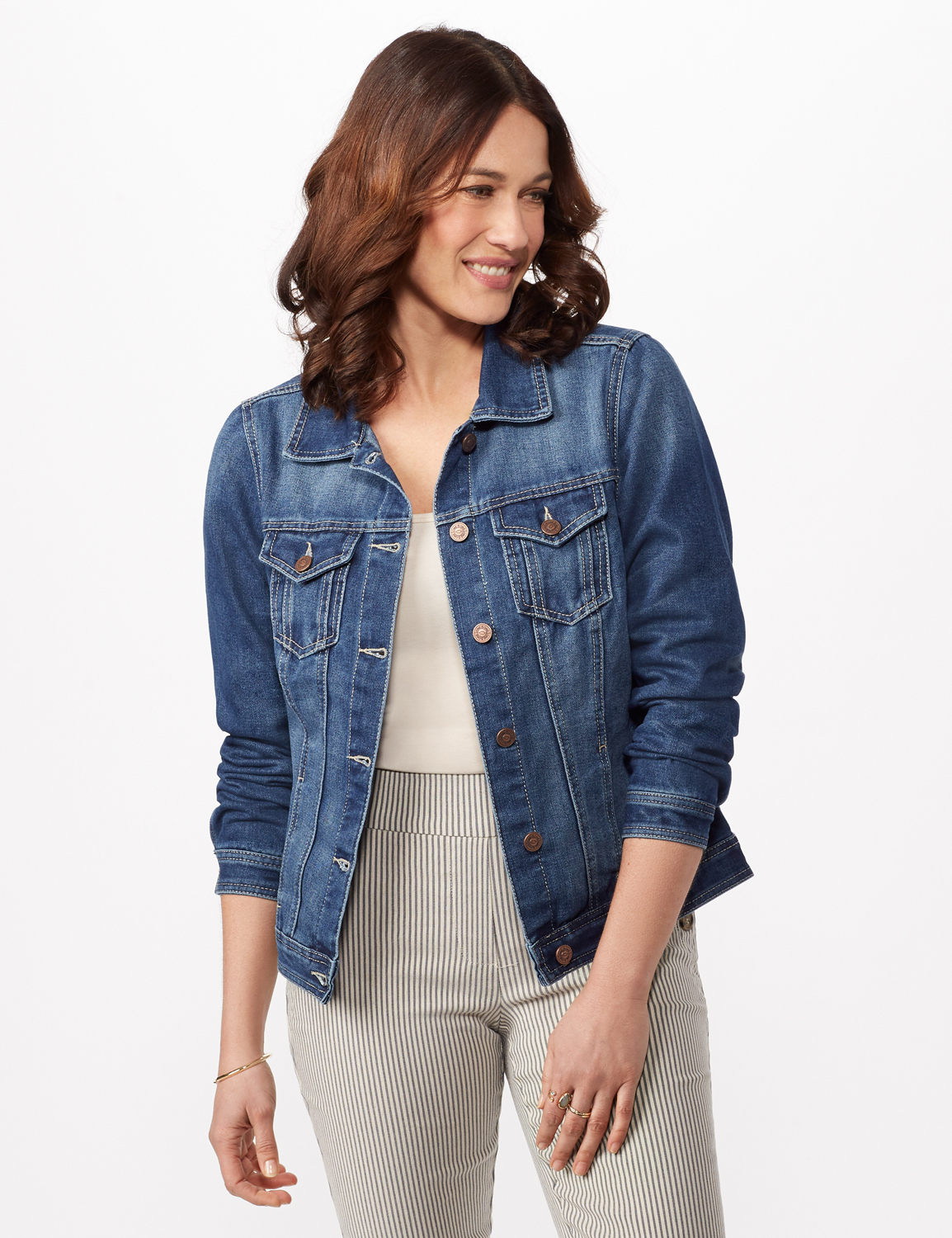 Long Sleeve Denim Jacket -Blue Wash - Front