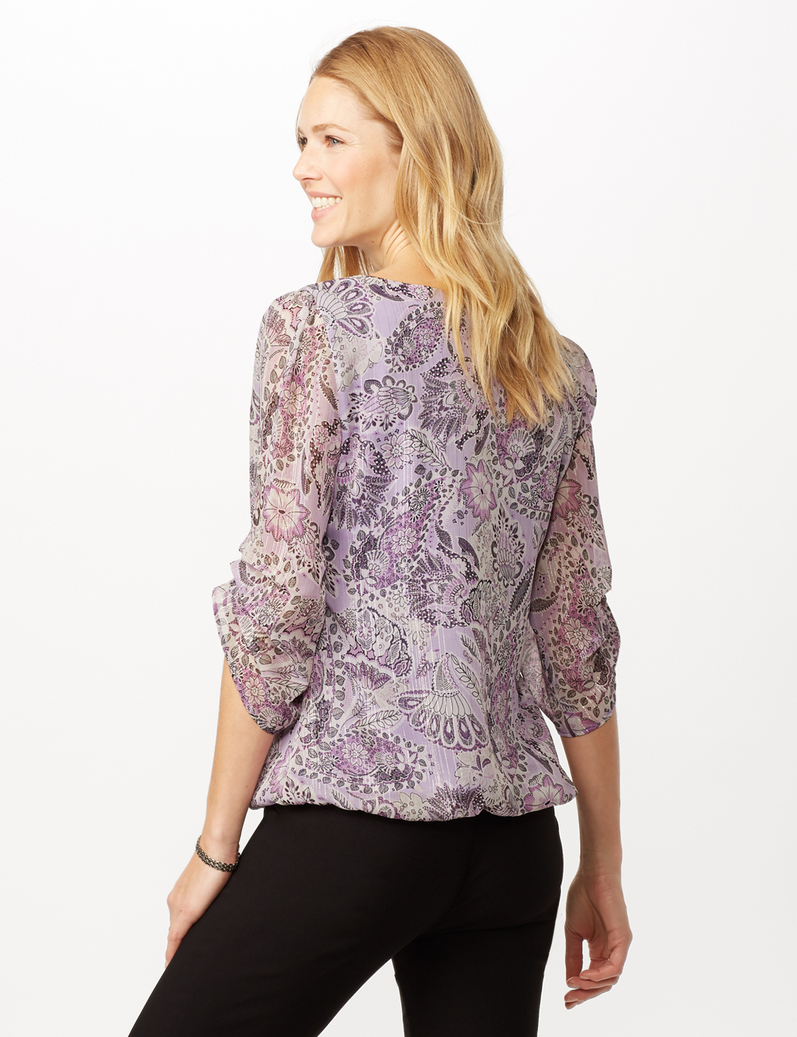 Paisley Floral Bubble Hem Woven Top with Chain Neck Detail -Purple - Back