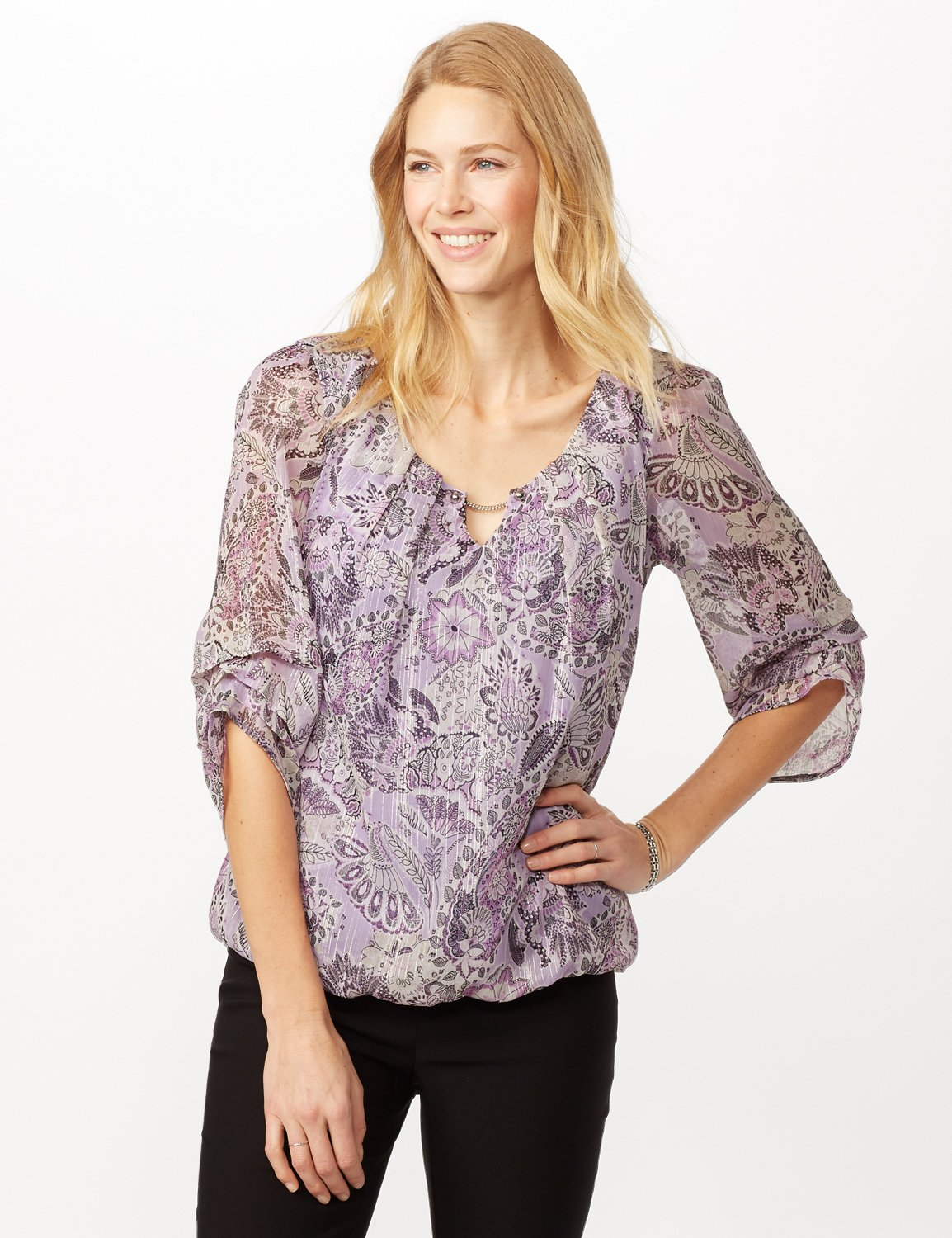 Paisley Floral Bubble Hem Woven Top with Chain Neck Detail -Purple - Front