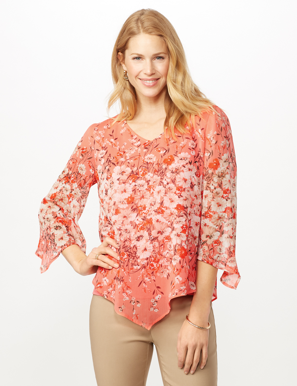 Floral Border V Hem Woven Top -Peach - Front