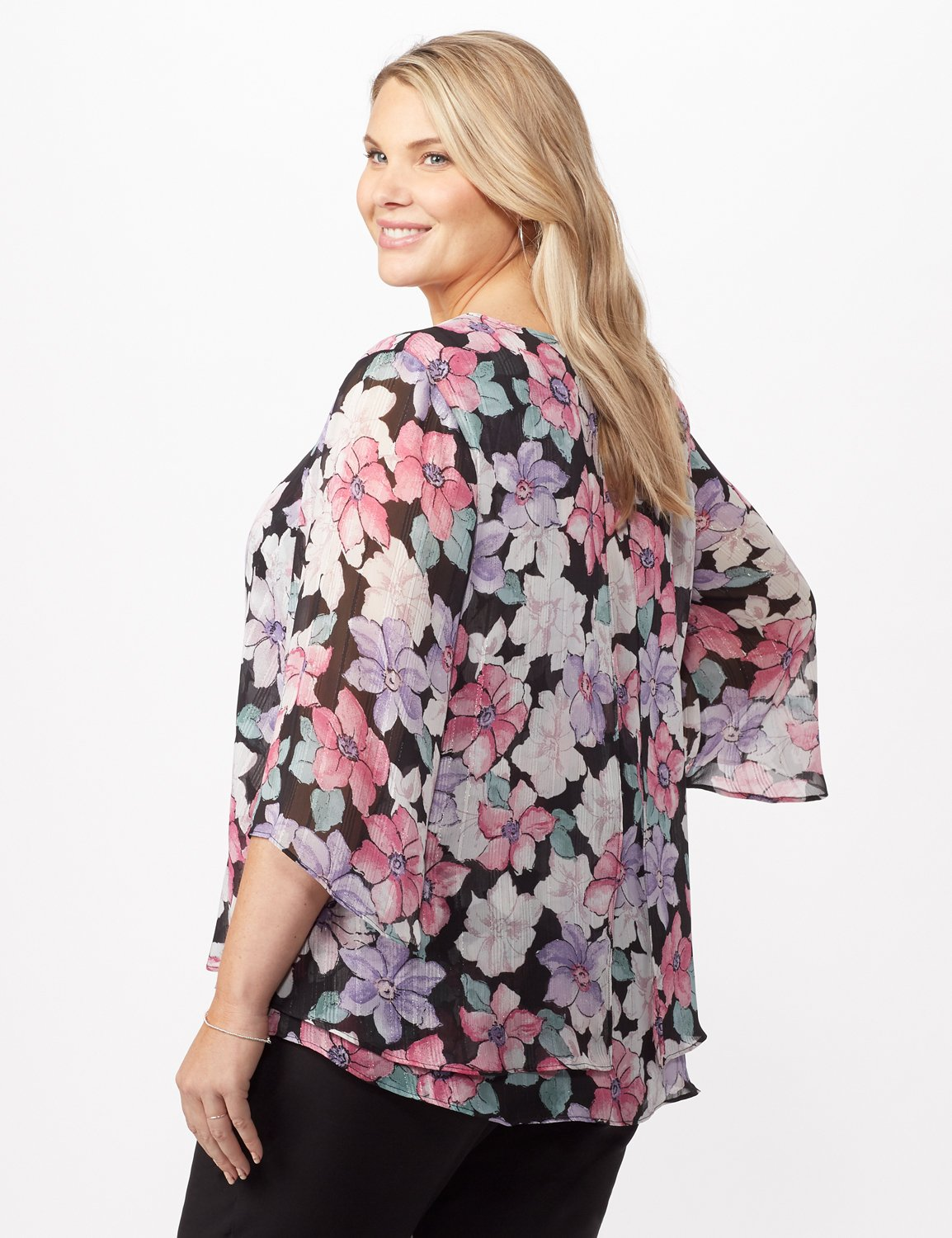 Double Layer Bright Floral Poncho -Multi - Back