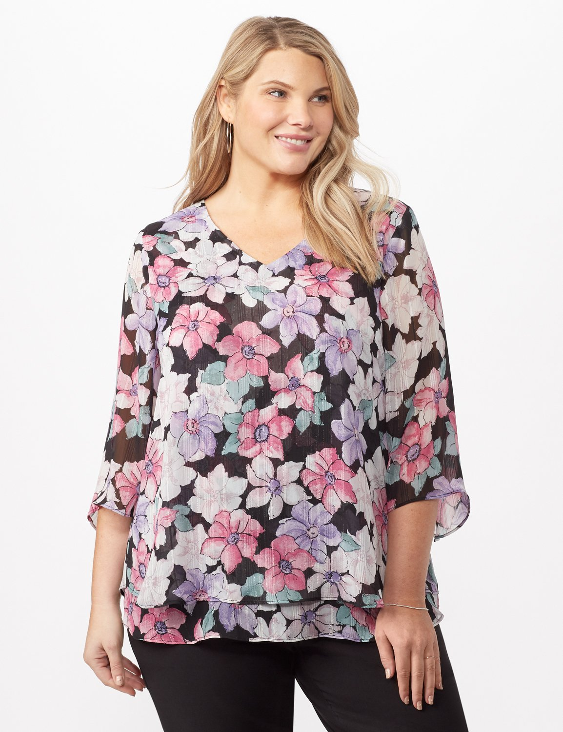 Double Layer Bright Floral Poncho -Multi - Front