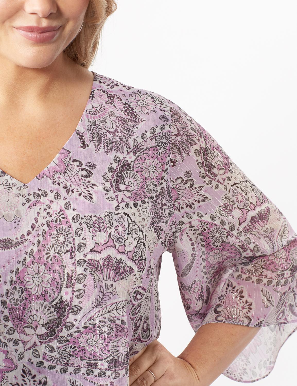 Paisley Floral Double Layer Poncho - Purple - Detail